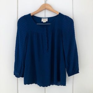 Anthropologie Maeve Emmeline Blouse in Navy Blue
